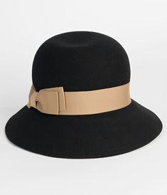 adbdd6f2e0498 1940s Style Hats Vintage Style Black Wool Tan Ribbon Cloche Hat  38.00 AT  vintagedancer.com