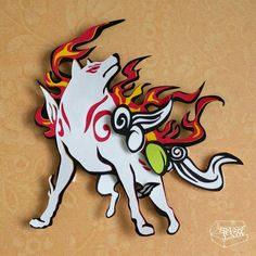 Video Game Okami These Paper CutOuts are designed using Scale Vector Graphics and cut using a paper cutter for precision details. Than by hand they are arranged