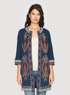 Johnny Was Clothing JWLA embroidered cotton knit SOPHIE RAW SEAM COAT in Blue Dream
