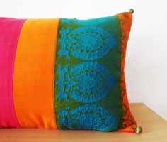 Bright Patchwork Lumbar Pillow Decorative Pillow by anekdesigns