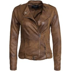 Vila Vikarmi Jacket ($93) ❤ liked on Polyvore featuring outerwear, jackets, coats & jackets, coats, leather jackets, brown, womens-fashion, brown jacket, vila and leather straight jacket