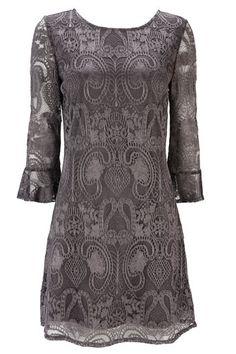 Petite Grey Lace Dress
