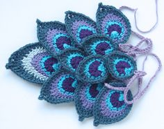 Crochet Hand made bunting, garland - peacock feathers - 100% cotton yarn - ready to ship