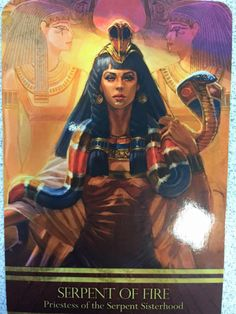 My second card was SERPENT OF FIRE Isis, Priestess of the Serpent Sisterhood and Queen of the Serpent of Fire, guides you through transformation now as your energy field grows stronger and old. Egyptian Queen, Egyptian Art, Ancient Aliens, Ancient Egypt, Tarot, Cleopatra Halloween, Spiritual Pictures, Isis Goddess, Egyptian Mythology