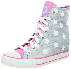 huge discount 058d8 727d4 Skechers Womens Gimme Sneaker - light silver-blue star shoes with girly  pink details