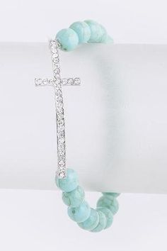 Turquoise Stone Cross Bead Bracelet by reva