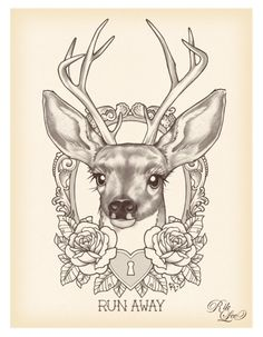 rik lee, traditional tattoo design, deer, antlers, roses, lock, illustration, sketch