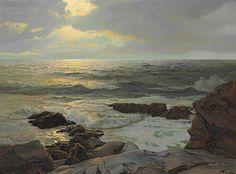 Frederick Judd Waugh - America (1861 - 1940), Marine Landscape Artist, Oil (waves, sea, ocean, rocks, water, sky)