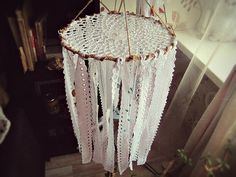 - Made To Order -   Bohemian #dreamcatcher mobile; lovely  bedroom or nursery decor; baby crib mobile    Made of bamboo rods wrapped with jute, cotton croch doily, cotton la... #bohemian