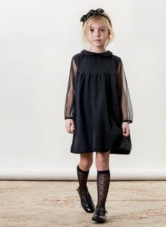 Tocoto Vintage Girls Tulle Dress in Gray - Kids Fashion Black Little Girls, Girls Black Dress, Dress Black, Kids Fashion Boy, Little Girl Fashion, Little Girl Dresses, Baby Boy Outfits, Vintage Girls Dresses, Tocoto Vintage