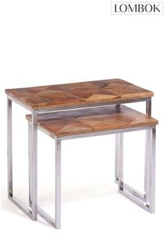 Buy Set of 2 Lombok Artisan Nesting Tables from the Next UK online shop Nesting Tables, Lombok, Uk Online, Lighting, Artisan, Furniture, Home Decor, Decoration Home, Light Fixtures