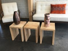 Raw wooden in tables for a clean line and rustic touch, available for rent.