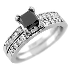 1.65 Carat Princess Cut Fancy Black Diamond Matching Engagement Ring & Stackable Wedding Band Set Polished 14k White Yellow Rose Pink Gold