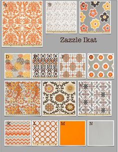 "Color scheme: ""Zazzle Ikat"" orange, gray, brown, gold"