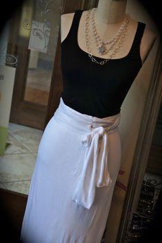 Peace.Love.World -- beautiful white wrap maxi skirt!