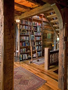 Love this rustic library
