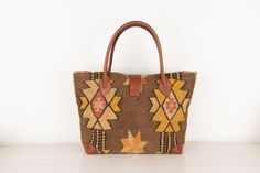 Kilim Tote Bag made of vintage kilim rug and genuine leather.
