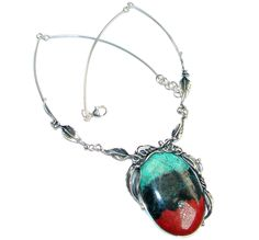 $235.55 Exclusive+Sunrise+Sonora+Jasper+Peridot+Sterling+Silver+handmade+Necklace at www.SilverRushStyle.com #necklace #handmade #jewelry #silver #jasper