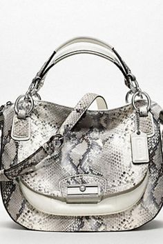 08544d45198  299 - COACH KRISTIN EMBOSSED PYTHON ROUND SATCHEL Coach Tote Bags