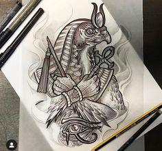 Horus Tattoo, Anubis Tattoo, Tattoo Design Drawings, Tattoo Sketches, Tattoo Designs, Lechuza Tattoo, Egypt Concept Art, Egyptian Tattoo Sleeve, Doodle Tattoo