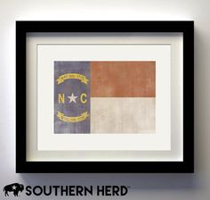 North Carolina Flag Print by SouthernHerd on Etsy