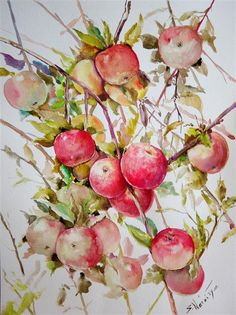 Love this watercolor painting from Ugallery. Apples on Tree (Vertical Composition) by Suren Nersisyan.