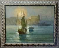 """Conrad Peter Bergmann (German 1886-1972) """"The Harbor at Split"""","""