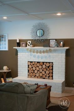 November DIY Challenge: Wood Slice Fireplace Facade