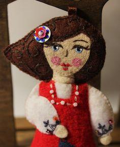 Doll  Hand Embroidered Felt Paris Fashion by TheSnowQueensGarden, $33.50