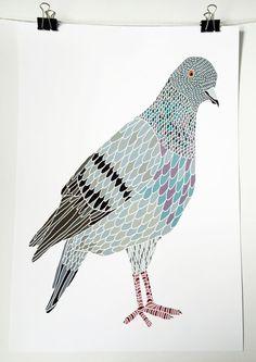 Pigeon Print by amymalcolmsondesign on Etsy