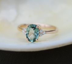Engagement Ring Rose gold engagement ring Green Blue Sapphire ring Blake Lively ring oval cut Rose gold diamond ring 1.3ct sapphire ring by EidelPrecious on Etsy