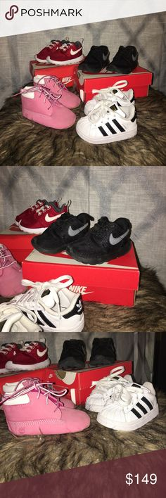 Baby girl infant Bundle 3c sneaker shoes Excellent condition all 3c .. two pair Nike Roshe .. one pair Timberland one Adidas Nike Shoes Sneakers