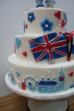 A Great British cake Beautiful Cakes, Amazing Cakes, British Cake, British Party, London Cake, British Things, Great British, British Style, Dessert