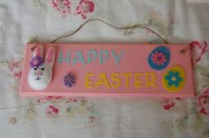 Handmade 'Happy Easter' bunny rabbit and eggs sign, plaque. Pink, yellow, blue. £12.00