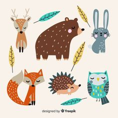 natur animals Hand drawn autumn for - natur Illustration Mignonne, Cute Illustration, Forest Animals, Woodland Animals, Autumn Animals, Forest Drawing With Animals, Safari Animals, Nature Animals, Illustrator