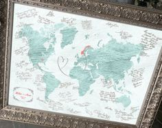 Travel world map guest book alternative wedding guest book wedding guest map wedding guest book alternative wedding centerpiece wedding guest book custom map world map hereandthereshop gumiabroncs Images