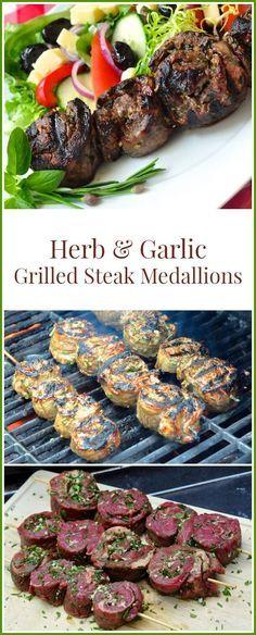 Herb and Garlic Rolled Steak Medallions - infused with delicious flavour! - - Herb and Garlic Rolled Steak Medallions - a delicious method for infusing herb and garlic flavours into grilled steak. Grilled Steak Recipes, Grilled Meat, Grilling Recipes, Meat Recipes, Dinner Recipes, Cooking Recipes, Healthy Recipes, Healthy Grilling, Grilled Steaks