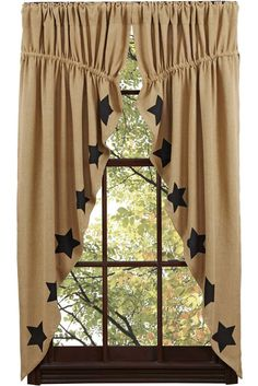 New Primitive Country Sturbridge BLACK STAR BURLAP Prairie Curtain Window Swag #Cambridge #Country