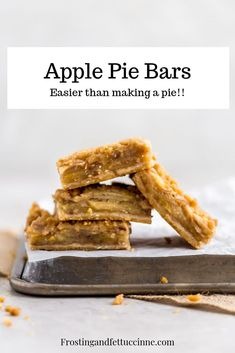 These apple pie bars with crumb topping are easier than making an apple pie, and are the perfect make ahead, crowd pleasing fall dessert! Make Ahead Desserts, Desserts For A Crowd, Apple Desserts, Mini Desserts, Fall Desserts, Apple Pie Bars, Just Bake, Homemade Pie, Holiday Baking