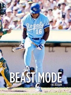 Royals outfielder Bo Jackson breaks a bat over his knee after striking out during a 1990 game against the Athletics. (Brad Mangin/SI) GALLERY: Two-Sport Athletes SI VAULT: Bo Jackson is one of. Bo Jackson, Royals Baseball, Baseball Players, Mlb Players, Baseball Teams, Baseball Stuff, Mlb Teams, Baseball Field, Hockey