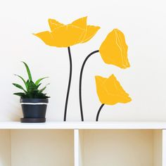 Poppy Flowers Wall Decal, 2 Color - Vinyl Wall Art Decal for Nurseries, Kids Rooms, and Modern Homes by danadecals on Etsy https://www.etsy.com/listing/266065123/poppy-flowers-wall-decal-2-color-vinyl