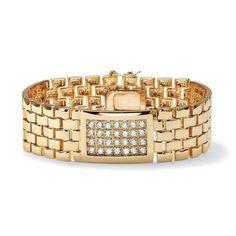 PalmBeach Jewelry 46869 Men's TCW Round Cubic Zirconia Yellow Gold-Plated Panther-Link Bracelet As Shown Link Bracelets, Bracelets For Men, Jewelry Bracelets, Men's Jewelry, Gold Plated Bracelets, Palm Beach Jewelry, Diamond Stone, Bracelet Watch, Fine Jewelry