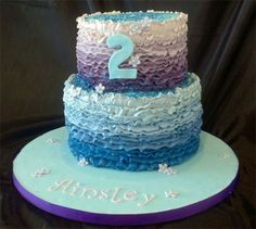Butter cream ruffle cake with the cake inside matching the blues and purples