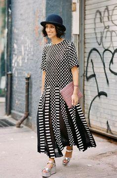 Yasmin Sewell, Street Style, Silver Metallic Shoes, NYFW, Bowler Hat