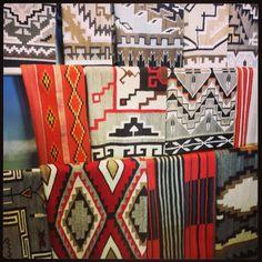 Navajo rugs in Santa Fe, New Mexico Native American Rugs, American Indian Art, Native American History, American Indians, New Mexico Santa Fe, Santa Fe Nm, Navajo Weaving, Navajo Rugs, Santa Fe Opera