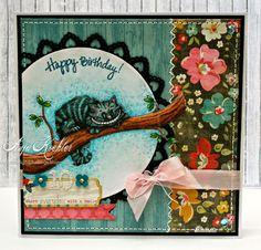 """Geburtstagskarte, birthday card, Mo Manning """"Cheshire cat"""", Grinsekatze, Alice im Wunderland, Alice in Wonderland"""