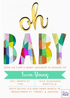 Color baby shower invitation design / This colorful color block is a modern version of a rainbow and is perfect for modern retro lovers / #BabyShowerInvite #LuckyPlum $5.99