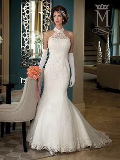 Mermaid wedding dresses on pinterest mermaid wedding for Choker neck wedding dress