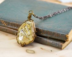 Handmade Steampunk Necklace- Antique Bronze Necklace- Analogue Rock Jewelry- Beachstone Jewelry- Artisan Jewelry- OOAK Necklace by Localmotive on Etsy Artisan Jewelry, Handcrafted Jewelry, Earrings Handmade, Gold Statement Earrings, Gold Hoop Earrings, Used Watches, Face Earrings, Rock Jewelry, Bronze