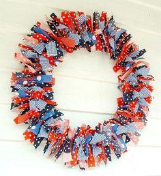 Patriotic large 18 inch fabric Rag Wreath decorative red white blue